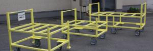 特注台車製作|『らくらく台車「腰高くん」』で工場内物流の効率化